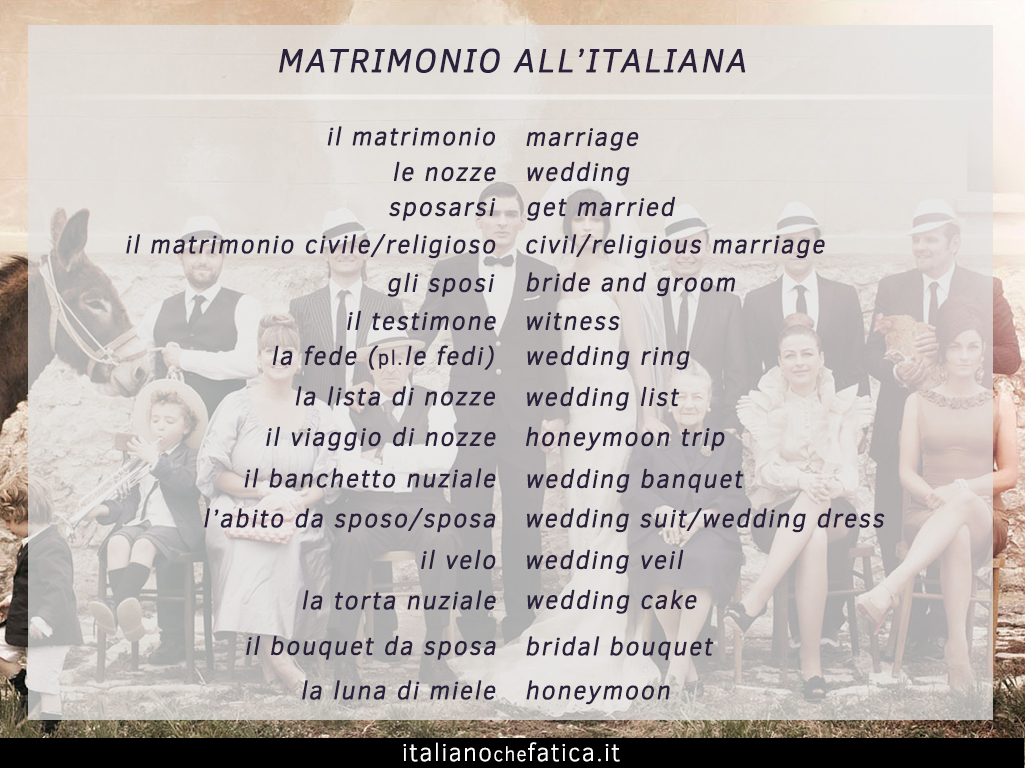 Matrimonio In Italiano : Vocabolario del matrimonio all italiana italiano che fatica